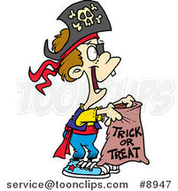 Cartoon Trick or Treating Pirate Boy by Ron Leishman