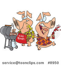 Royalty-Free (RF) Clip Art Illustration of Cartoon Happy Pigs at a BBQ by Ron Leishman