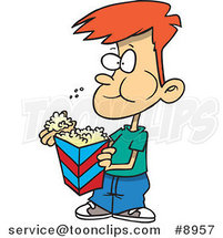 Cartoon Boy Eating Popcorn by Ron Leishman