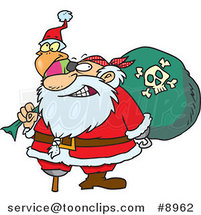 Cartoon Santa Pirate by Ron Leishman