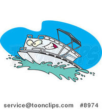 Cartoon Pontoon Boat Character by Ron Leishman