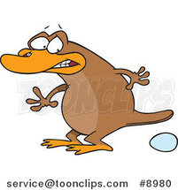 Cartoon Platypus Laying an Egg by Ron Leishman