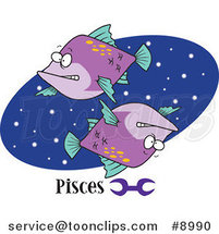 Royalty-Free (RF) Clip Art Illustration of Cartoon Pisces Astrology Fish over a Blue Oval by Ron Leishman