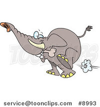 Cartoon Elephant Fetching a Bone by Ron Leishman