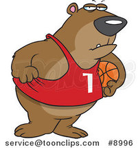 Cartoon Basketball Bear by Ron Leishman