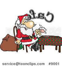 Cartoon Santa Taking a Break in a Cafe by Ron Leishman