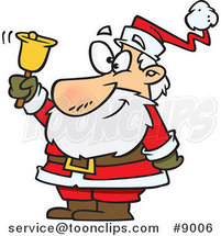Cartoon Santa Ringing a Bell by Toonaday