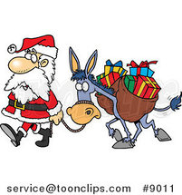Cartoon Santa Walking with a Donkey by Ron Leishman