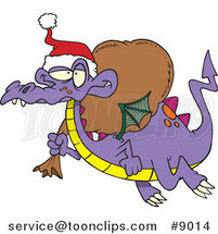 Cartoon Santa Dragon by Ron Leishman