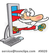 Cartoon Santa Holding an Email Symbol in a Computer by Ron Leishman