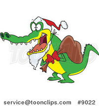 Cartoon Santa Alligator by Ron Leishman