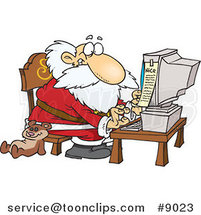 Cartoon Santa Using a Computer by Ron Leishman
