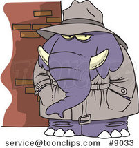 Cartoon Detective Elephant by Ron Leishman