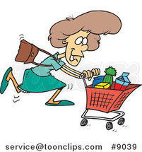 Cartoon Grocery Shopping Lady by Ron Leishman