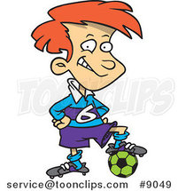 Cartoon Posing Soccer Boy by Ron Leishman