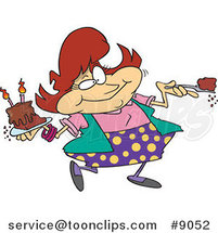 Cartoon Lady Eating Birthday Cake by Ron Leishman