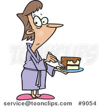 Cartoon Cheating Lady Eating Cake by Ron Leishman