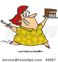 Cartoon Lady Running with Birthday Cake by Ron Leishman