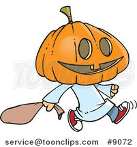 Cartoon Pumpkin Head Trick or Treater by Ron Leishman