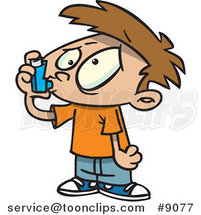 Cartoon Asthmatic Boy Using an Inhaler by Ron Leishman