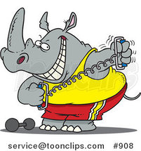 Cartoon Workout Rhino Using a Stretching Device by Ron Leishman