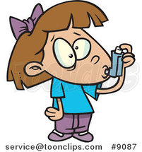 Cartoon Asthmatic Girl Using Her Inhaler Puffer by Ron Leishman