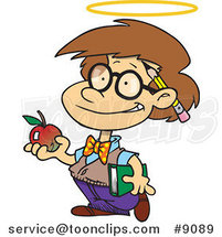 Cartoon Innocent School Boy with an Apple by Ron Leishman