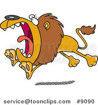 Cartoon Attacking Lion by Ron Leishman
