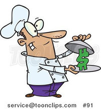 Cartoon Chef Serving a Dollar Sign on a Platter by Toonaday