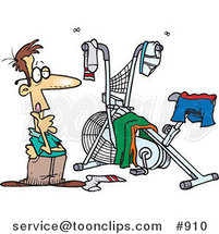 Cartoon Guy Staring at His Messy Workout Space by Ron Leishman