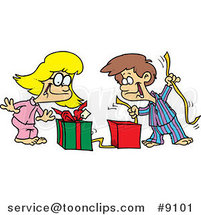 Cartoon Boy and Girl Opening Christmas Gifts by Toonaday