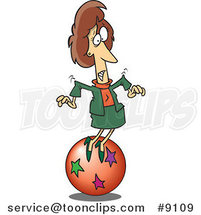 Cartoon Business Woman Trying to Balance on a Ball by Ron Leishman
