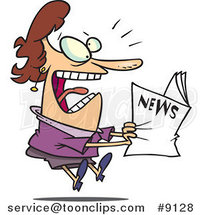 Cartoon Lady Reading Exciting News by Ron Leishman
