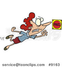 Cartoon Lady Pushing a Panic Button by Ron Leishman