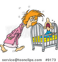 Cartoon Tired Mother Tending to Her Baby by Toonaday