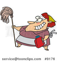 Cartoon Lady Cleaning by Ron Leishman