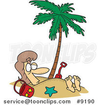 Cartoon Lady Buried in Sand Under a Palm Tree by Ron Leishman