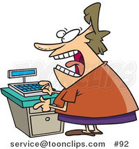 Cartoon Stressed out Clerk Lady at a Cash Register in a Store by Toonaday
