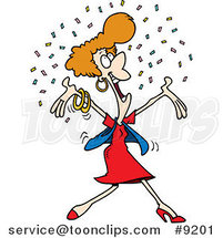 Cartoon Happy Lady in Confetti by Ron Leishman