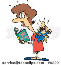 Cartoon New Mom Reading a Parenting Book by Toonaday