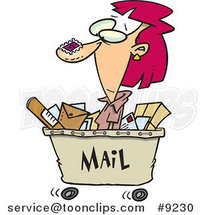 Cartoon Lady in a Mail Cart by Ron Leishman
