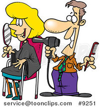 Cartoon Guy Working on a Female Client at a Salon by Toonaday