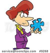 Cartoon Business Woman Holding a Puzzle Piece by Ron Leishman