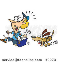 Cartoon Dog Chasing a Mail Lady by Ron Leishman