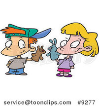 Cartoon Boy and Girl Playing with Puppets by Ron Leishman