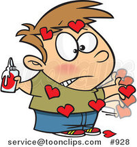 Cartoon Messy Boy with Valentine Hearts Glued All over His Body by Ron Leishman