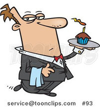 Cartoon Butler Carrying a Cupcake with a Lit Candle on a Tray by Ron Leishman