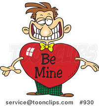 Grinning Cartoon Guy with a Be Mine Valentine Heart Body by Ron Leishman
