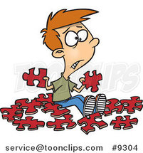 Cartoon Confused Boy with Similar Puzzle Pieces by Ron Leishman