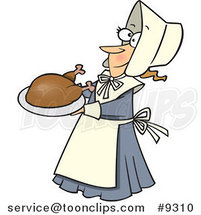 Cartoon Lady Pilgrim Serving a Turkey by Ron Leishman